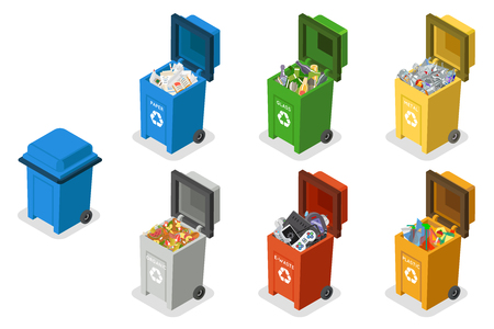 Garbage cans trash separation recycling isolated isometric 3d flat design icons set vector illustration Vettoriali