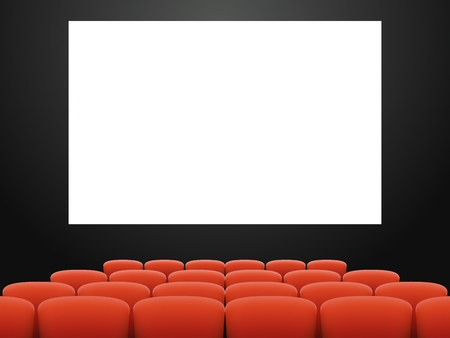 Empty cinema hall armchair movie theatre interior realistic design vector illustration