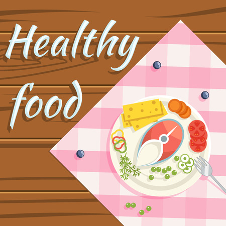 Healthy food flatlay steamed fish vegetables plate wooden background design flat vector illustration