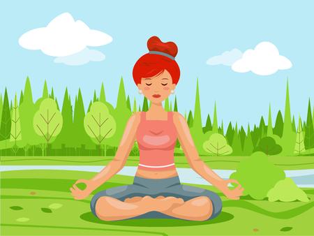 Outdoor park nature meditation cute female girl yoga health cartoon design character vector illustration