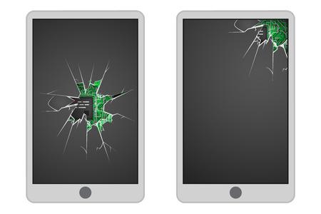 Broken mobile phone glass hole electronic cracks garbage realistic design icon vector illustration Stock Illustratie