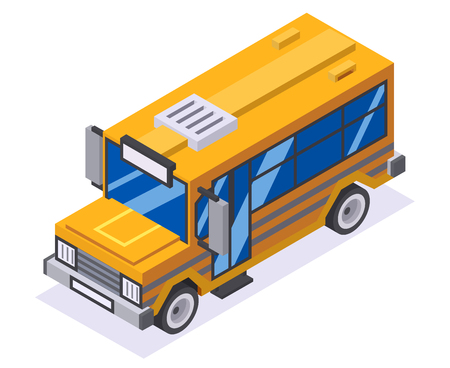 Isometric 3d retro flat lowpoly design school buss car vector illustration Vectores