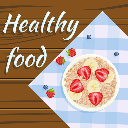 Oatmeal strawberry banana healthy food flatlay fruits plate wooden background design flat vector illustration