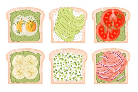 toasted bread avocado red fish egg tomato banana green healthy food diet flat design vector illustration Stock Illustratie