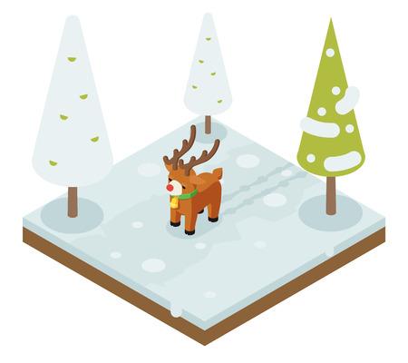 Cartoon deer walking winter wood forest isometric flat 3d design vector illustration