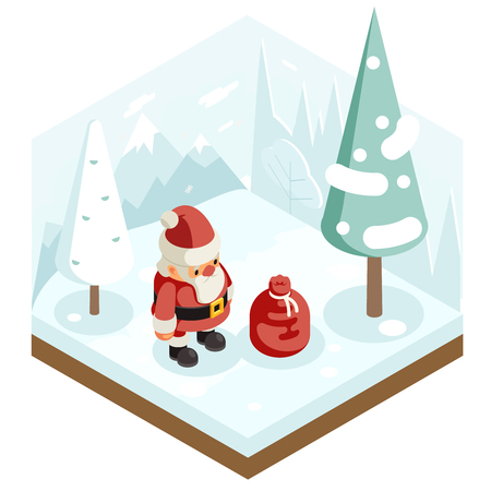 Cartoon santa claus grandfather frost gift bag new year christmas forest wood background isometric flat 3d design vector illustration Stock Illustratie