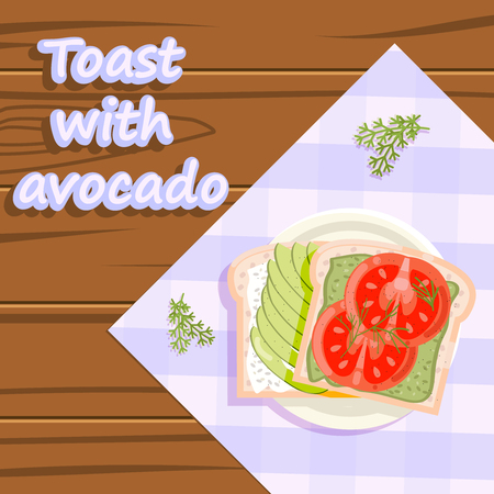 Toast with avocado healthy food flatlay fruits wooden plate background flat design ve?tor illustration