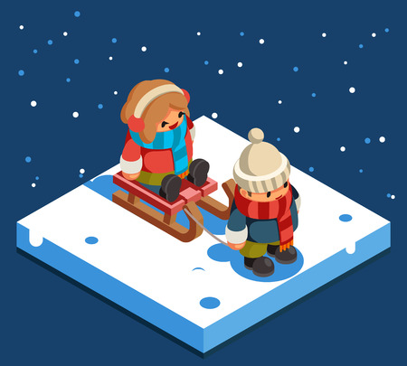 Kids isometric boy sledding girl sleigh snow winter background flat design vector illustration