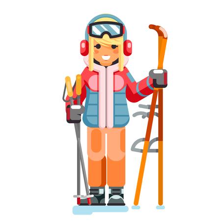 Cute skier girl ski winter resort sport holidays skiing mountain isolated character flat design vector illustration