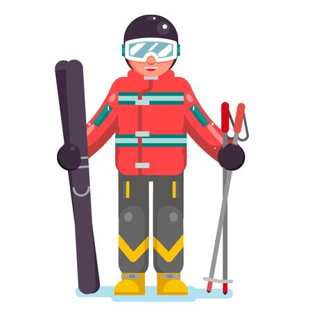 Isolated skier mountain winter vacation mountains skiing flat design vector illustration