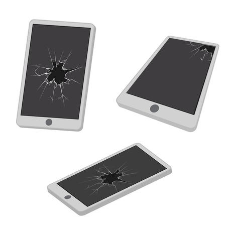 Glass hole cracks broken mobile phone garbage electronic realistic isometric design icon vector illustration