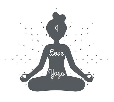 I love yoga meditation cute girl female health silhouette design vector illustration Stock Illustratie