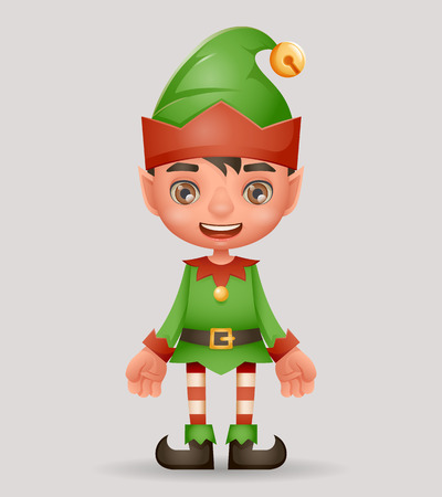 Christmas elf boy santa claus helper new year cartoon 3d character design vector illustration