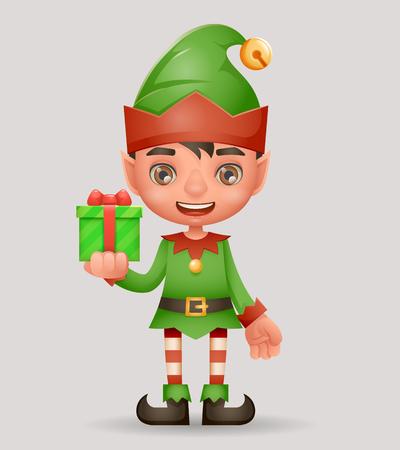 Gift box give away bestow christmas elf boy santa claus helper new year cartoon 3d character design vector illustration