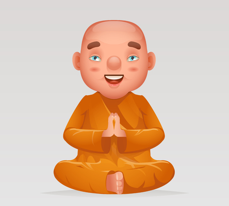 Meditation cute buddhist sitting monk traditional asian buddhism culture religion cartoon 3d realistic character design vector illustration