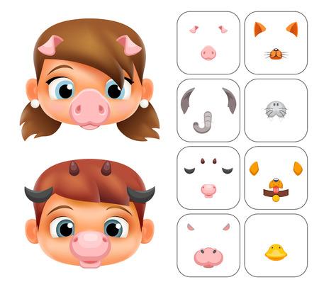 Boy girl cartoon selfie application photo items masks animal face decoration ears nose details vector illustration Stock Illustratie