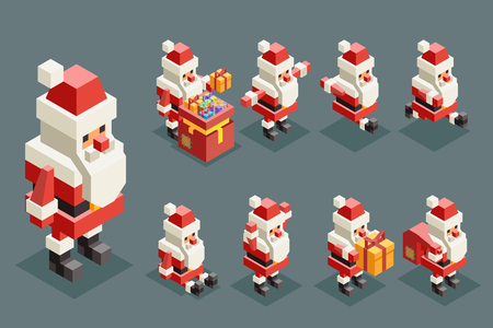Santa claus christmas old man lowpoly polygonal grandfather new year isometric isolated 3d icons set flat cartoon design Vector Illustration