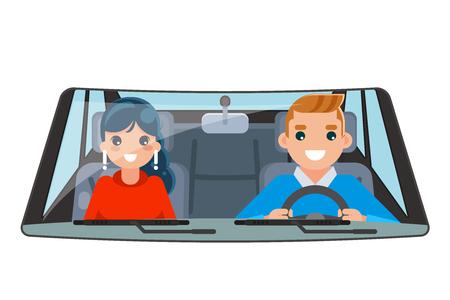 Driver vehicle passenger interior car ride wheel driving isolated flat design vector illustration Stock Illustratie