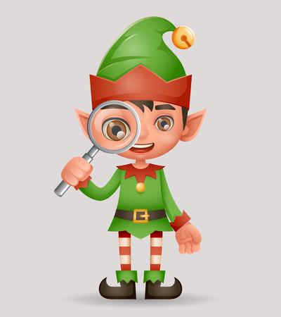 Magnifying glass search christmas boy elf santa claus helper new year 3d cartoon design vector illustration