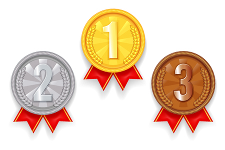 Gold silver bronze award sport 1st 2nd 3rd place medal red ribbon icons set vector illustration Ilustrace