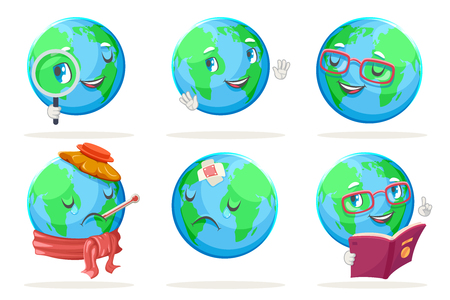 Ecology happy emotion nature earth globe characters icons isolated set vector illustration