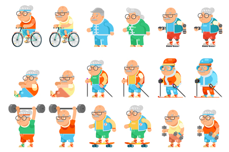 Healthy activities fitness granny grandfather adult old age man woman characters cartoon set flat design vector illustration Stock Illustratie