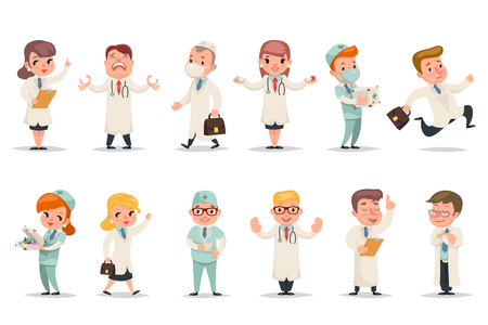 Medic different positions emotions actions characters doctor icons set retro cartoon design vector illustration