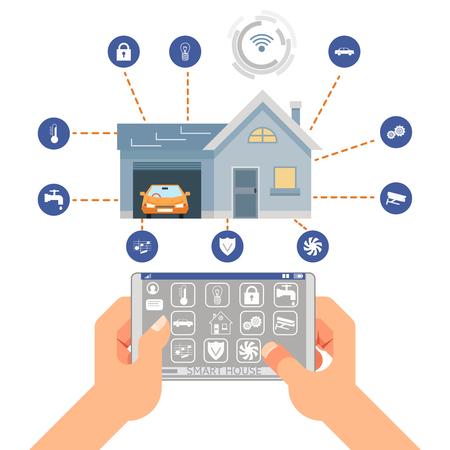 Smart house control technology system mobile device vector illustration Stock Illustratie