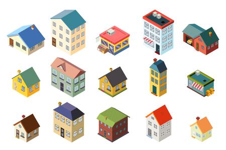 House street isometric icons flat set design concept vector illustration Stock Illustratie