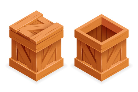 Wooden box open closed 3d isometric realistic design vector illustration