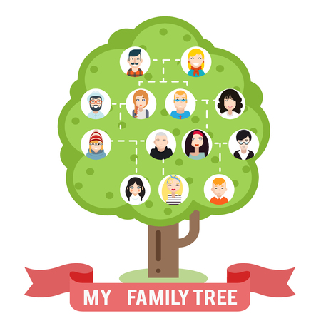Avatars family tree father mother grandfather grandmother photo picture frames flat design vector illustration
