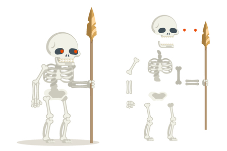 Undead skeleton guardian ancient dead resurrected warrior fantasy medieval action game RPG character layered animation ready character vector illustration