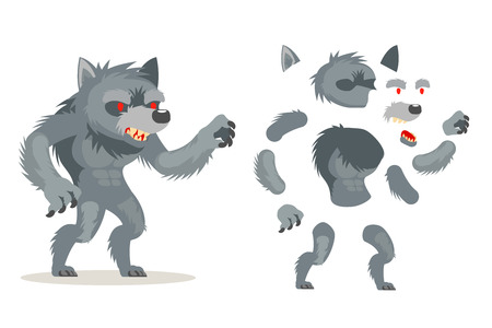 Wolf werewolf fantasy monster medieval action RPG game character layered animation ready character vector illustration Stock Illustratie