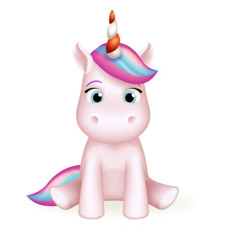 Cartoon unicorn cute 3d toy character design vector illustration