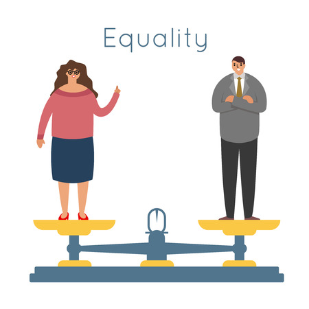 equality women men equal rights male female characters balance scales weigher concept modern flat design vector illustration