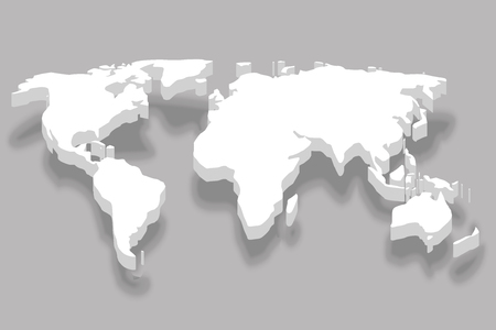 continent white 3d world map business infographic design vector illustration Stock Illustratie