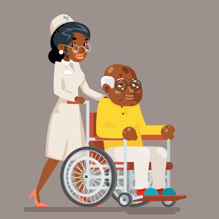 African afro american european doctor attendant nurse elderly caring wheelchair old man character sit adult cartoon design vector illustration