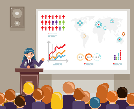 Tribune speech speaking large audiences global issues climate change crowd female character world campaigning human rights design flat vector illustration Stock Illustratie