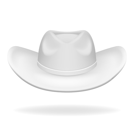 Cowboy hat white isolated 3d realistic icon design vector illustration