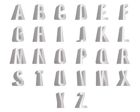 standing 3D alphabet big letters font isolated design vector illustration