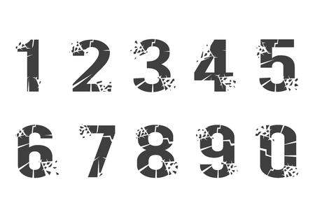 Breaking cracked pieces digits numbers design set vector illustration Stock Illustratie