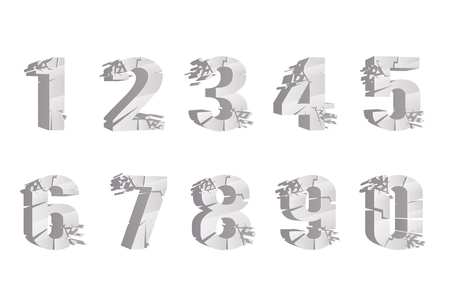 Cracked breaking pieces realistic 3D digits numbers set design vector illustration Stock Illustratie