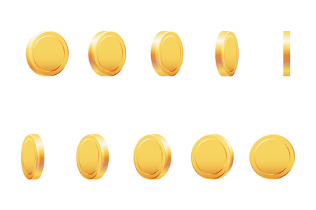 Golden coin rotation animation money currency 3d isolated realistic casino game design vector illustration