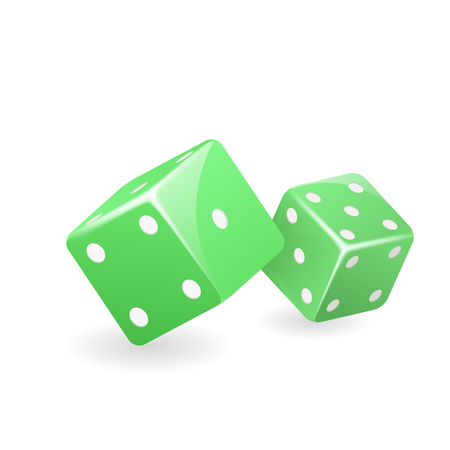 Green dice realistic 3d casino gambling game deisgn isolated icon vector illustration