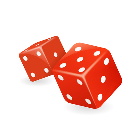 Red dice 3d realistic casino game gambling deisgn isolated icon vector illustration