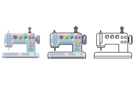 Embroidery sewing machine craft tool sew cloth flat design isolated icon vector illustration