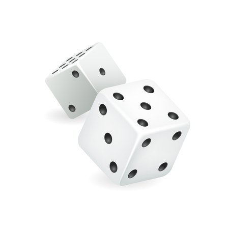 White dice realistic 3d casino gambling game deisgn isolated icon vector illustration 矢量图像