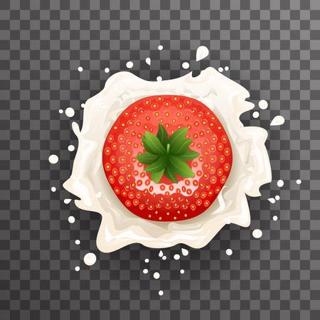 Cream milk strawberry curl splash drops realistic fruit transparent background 3d design vector illustration Stock Illustratie