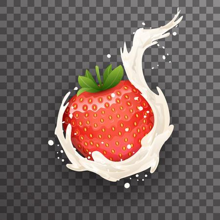Realistic cream milk strawberry curl splash drops fruit transparent 3d background design vector illustration