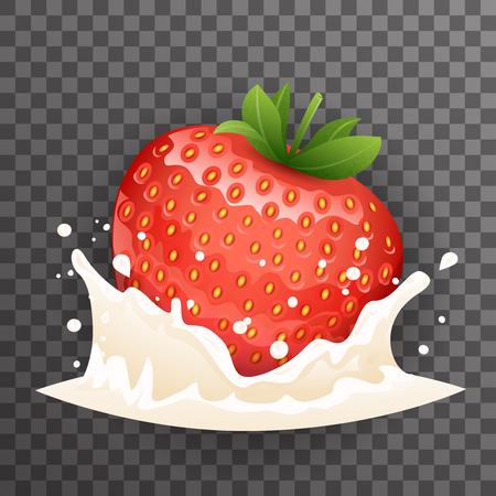 Strawberry milk cream curl splash drops fruit realistic transparent background design 3d vector illustration Stock Illustratie